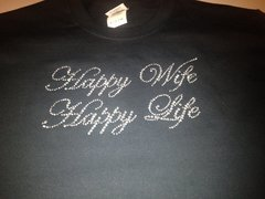 HAPPY WIFE, HAPPY LIFE RHINESTONE BLING TEE
