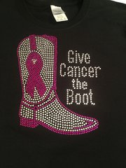 GIVE CANCER THE BOOT AWARENESS RHINESTONE BLING TEE