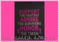 SUPPORT ADMIRE HONOR BREAST CANCER AWARENESS RHINESTONE BLING TEE