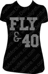FLY & 40 RHINESTONE BLING TEE