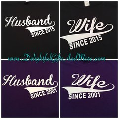 HUSBAND AND WIFE SHIRT SET WITH WEDDING YEAR