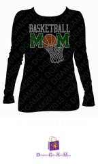 BASKETBALL MOM RHINESTONE BLING TEE (WITH BASKETBALL AND JERSEY NUMBER ON BACK)