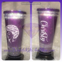 PERSONALIZED AFRO WORDS TUMBLER