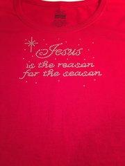 JESUS IS THE REASON FOR THE SEASON RHINESTONE BLING TEE