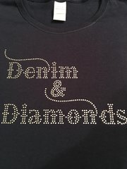 DENIM & DIAMONDS RHINESTONE BLING TEE