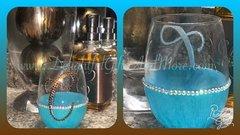 Personalized Rhinestone Bling Wine Glass