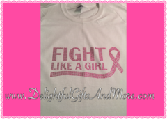 FIGHT LIKE A GIRL (TEXT) BREAST CANCER AWARENESS RHINESTONE BLING TEE