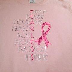 FEARLESS BREAST CANCER AWARENESS RHINESTONE BLING TEE