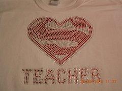 SUPER TEACHER (HEART) *RED STONES ONLY* RHINESTONE BLING TEE