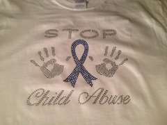 STOP CHILD ABUSE RHINESTONE BLING TEE