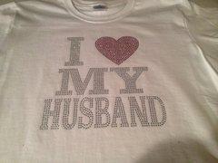 I LOVE MY HUSBAND RHINESTONE BLING TEE