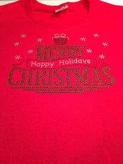 MERRY CHRISTMAS, HAPPY HOLIDAYS RHINESTONE BLING TEE
