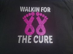 WALKIN FOR THE CURE BREAST CANCER AWARENESS RHINESTONE BLING TEE