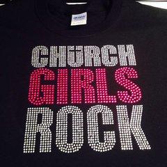 CHURCH GIRLS ROCK RHINESTONE BLING TEE