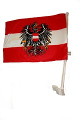 """AUSTRIA WITH EAGLE COUNTRY HEAVY DUTY CAR FLAG.. SIZE : 12"""" X 18"""" INCHES.. NEW"""