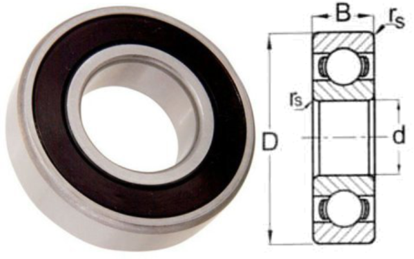 627 2RS Double Seal Ball Bearing 7 X 22 X 7