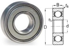 628 ZZ Double Shield Ball Bearing 8 X 24 X 8