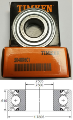 204RR6 TIMKEN Fafnir 3/4x1.7805x0.61 Double Seal Ball Bearing JD9296, Replaces BCA 204BBAR, John Deere JD9296, Lilliston 20-50-094
