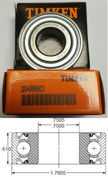 204RR6 TIMKEN Fafnir 3/4x1.7805x0.61 Double Seal Ball Bearing JD9296, Replaces BCA 204BBAR, John Deere JD9296, Lilliston 20-50-094