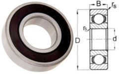 """R6 2RS Double Seal 3/8"""" X 7/8"""" X 9/32"""""""