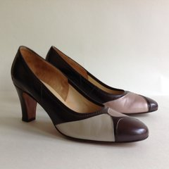 Meadows Multi Brown Leather 1960s Vintage Court Shoes UK 3.5 B EU 36.5 Mad Men