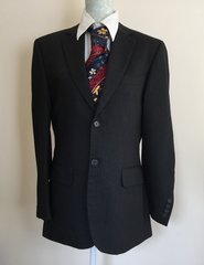 Jeff Banks Dark Charcoal Wool Gentleman's Suit Jacket Size 38 Protective Bag