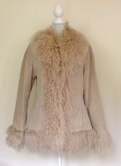 BAY TRADING 1990s Vintage Afghan Style Coat Cream Suede & Mongolian Fur Size 12