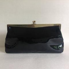 Freedex 1960s Black Patent Leather Vintage Clutch Bag Fabric Lining Brass Frame