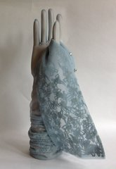 1950s Vintage Baby Blue 23 Inch Sheer Flocked Stocking 2 Button Opera Gloves Size 7