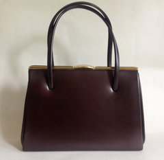 Metallic Brown Coated Leather 1950s Vintage Handbag With Clean Suede Lining And  Elbief Frame Goodwood Kelly