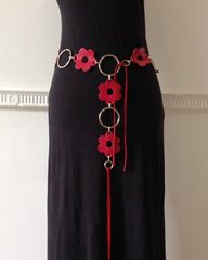 Flower Power Hippy 1960s Style Red Leather Fowers & Plated Steel Chain Belt