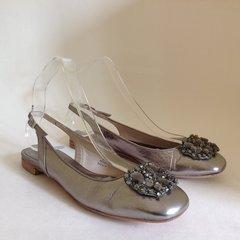 Boden Silver Leather Dolly Ballet Flat Slingback Diamanté Brooch Shoe UK 4 EU 37