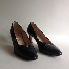 RAYNE Black All Leather Vintage 1980s Court Shoes UK 4.5 EU 37.5