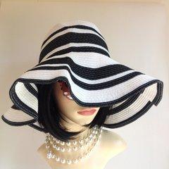 Unbranded Black & White Jean Shrimpton Vintage 1960s Style Floppy Brim Hat