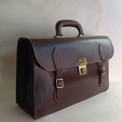 Large Brown Leather Case Vintage 1970s Briefcase Bag Music Doctors Bag
