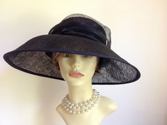 PETER BETTLEY Dark Blue Straw Audrey Hepburn Style Wedding Church Funeral Races Hat With Feather Detail