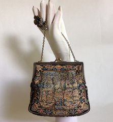 Early 20th Century Tapestry Patterned Soft Small Vintage Handbag Fabric Lining