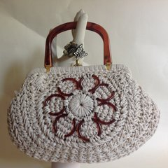 1960s Ivory Nylon Vintage Handbag Basket Rockabilly Fabric Lining Resin Handles