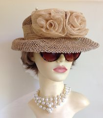 Natural Straw Hat Sinamay Rose And Band With Pearl Hat Pin Church Races Weddings