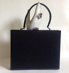 Fassbender Black Metal And Felt Covered 1940s Box Vintage Handbag Fabric Lining