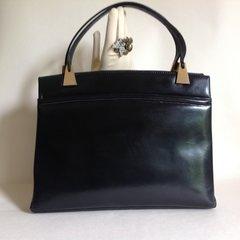 Black Calf Leather 1960s Vintage Handbag Green Leather Lining & Brass Fittings