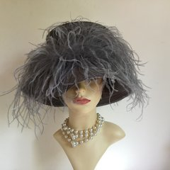 Lucy Barlow Fabulous Grey Ostrich Feather Decorated Straw Hat Weddings Races Church