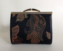 Vintage 1970s Coin Purse With Kiss Clasp Paisley Fabric & Black Leather Sides