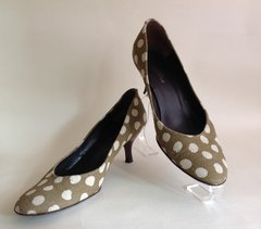 "AUDLEY Court Shoe Olive White Spotted Polkadot Twill Fabric 2.5"" Kitten Heel Size UK 5 EU 38"