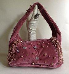 Hand Made Rose Pink Nylon Velvet Heavily Beaded With Brooches Decorated Handbag