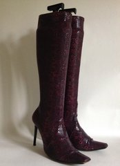 Casadei Purple Stiletto Knee High Snake Effect Stretch Boots UK 5 EU 38 US 7B
