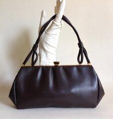 Mod Go Go Brown Vinyl 1960s Vintage Handbag Kelly Bag With Brown Fabric Lining