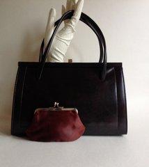 1950s Brown Faux Leather Vintage Handbag Coin Purse Elbief Frame Kelly Bag