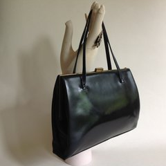 FASSBENDER Well Loved 1950s Black Calf Leather Vintage Handbag Satin Lining