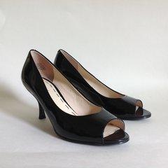 NINE WEST Black Patent Leather Mid Heel Classic Peep Toe Court Shoe UK 5 EU 38